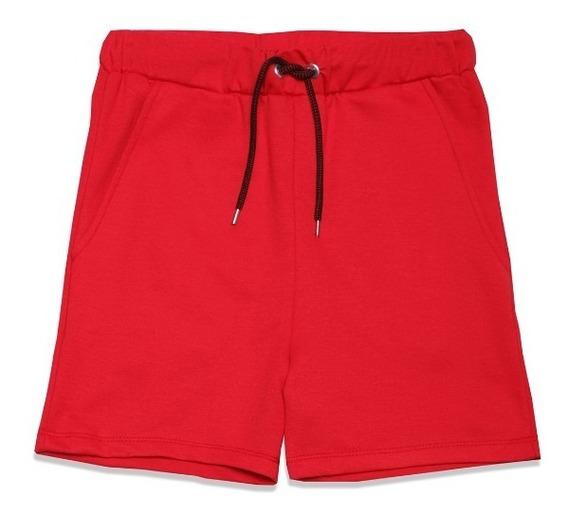 Short Tipo Bermuda Niño Cintura Ajustable Color Rojo Lob