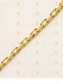 Corrente Em Ouro Modelo Malha Cartier Maciça De 3mm E 50 Cm