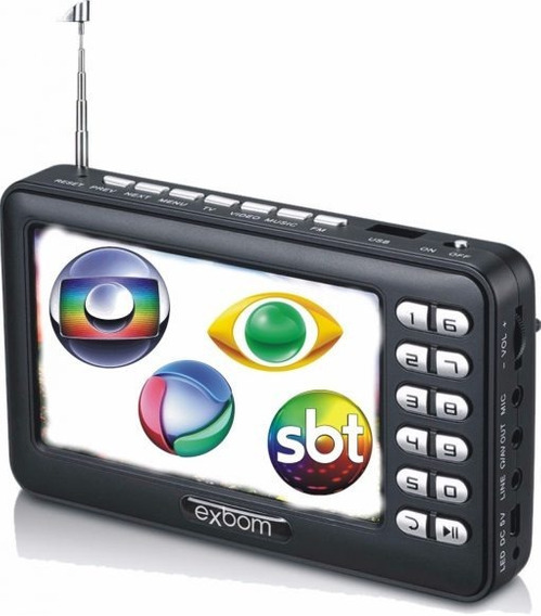Mini Tv Digital Portátil C/ Tela Lcd Antena Bateria Interna