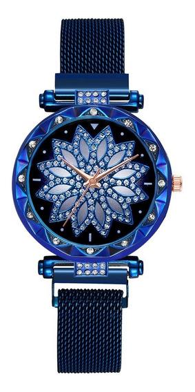 Relógio Feminino Flor Fivela Ímã Com Bracelete Azul