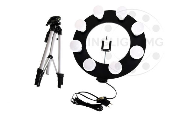 Ring Light Preta 8 Led + Tripe 1,30 Mts + Sup Cel + Brinde