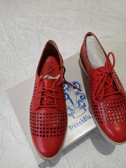 Zapatos Dama Casual Rojo/naranja #5 Mexicano, French Blue