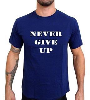 Camiseta Mma Shop Nunca Desista Azul