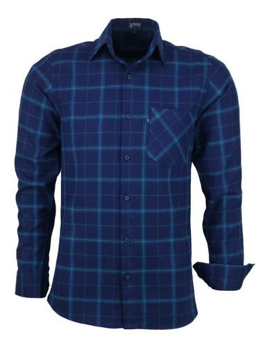 Imagem 1 de 1 de Camisa Masculina Amil Garnet Longa Xadrez Flanela C Bolso