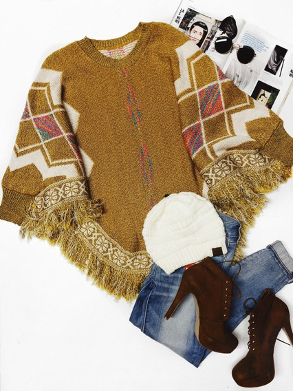 Poncho Tejido Chal Suéter Mexicano Crochet