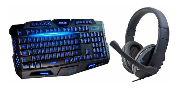 Teclado Gamer Luminoso Led Neon + Fone Headset Usb