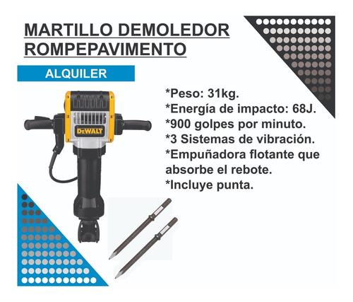 Imagen 1 de 2 de Alquiler Martillo Demoledor Electrico Rompe Pavimento