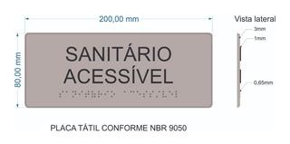 Placa Sinalização Visual Braille Relevo Banheiro Acessível