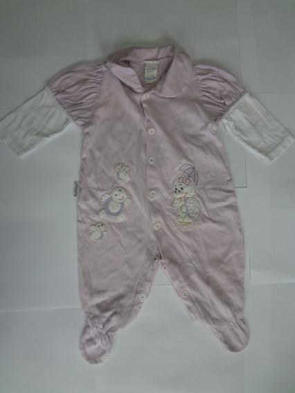 Macacão Plush Lilás Para Bebê Bordado - Menina