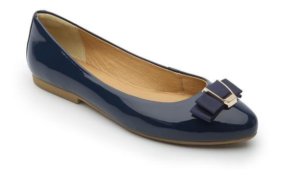 Flexi Balerina Zapato De Piso Azul Charol Cómodos Mujer Dama