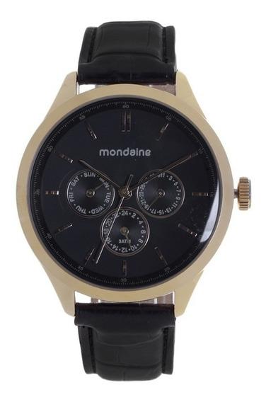 Relógio Mondaine Multifunção Em Couro 76202gpmgdr2