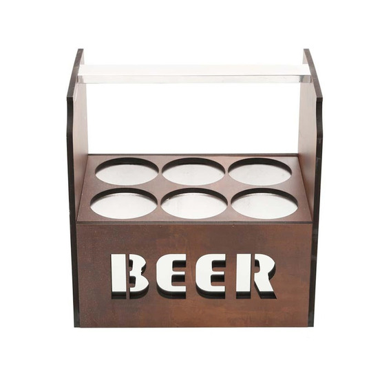 Porta Cerveja Térmico Para 06 Latas Em Madeira Quartzo Wooda