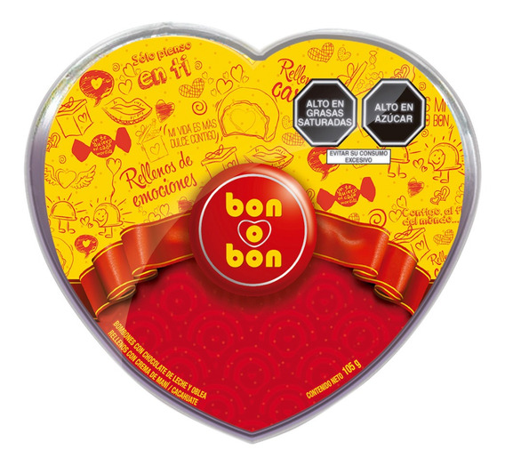 Pote Mini Corazón Bon O Bon Leche 105g - 7 Unidades