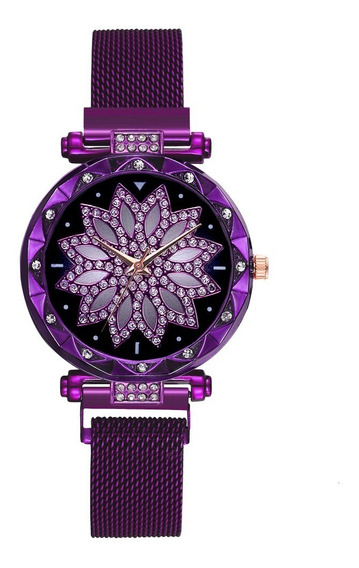 Relógio Feminino Flor Fivela Ímã Com Bracelete Roxo