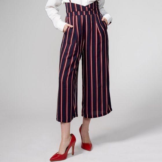 Pantalon Casu Vestir Rayas 823677 Talle Alto Palazzo Culotte
