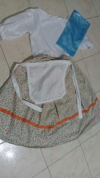 Pollera Floreado Naranja Con Blusa 3/4 Delantal Y Pañuelo