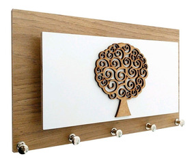Porta Chaves E Cartas Árvore Amadeirado Momento Casa