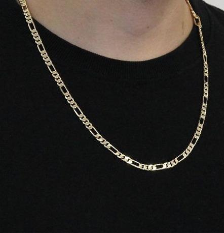 Gargantilha Banhada A Ouro Com Elos-3x1-44cm-22mm
