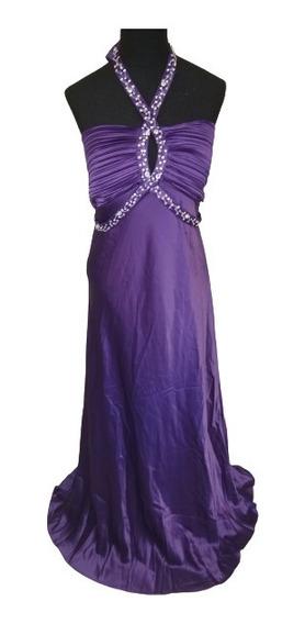 Vestido Violeta Largo De Raso