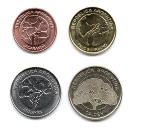 Argentina Serie Monedas 1, 2, 5 Y 10 Pesos 2017/8 Arboles Sc