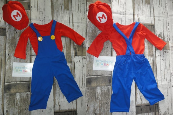 Fantasia Infantil Super Mario Bros Veste 9 A 12 Meses