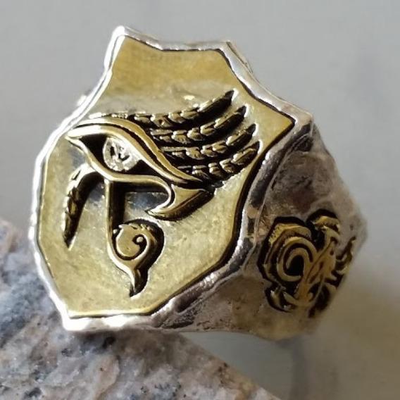 Olho Hórus Anel Egípcio Prata 925 Ankh Maçonaria Pineal