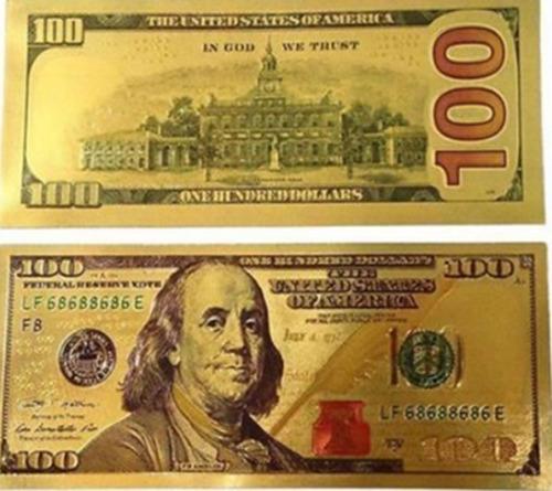 Billete Decorativo U$ 100 Dorado, Billete De La Buena Suerte