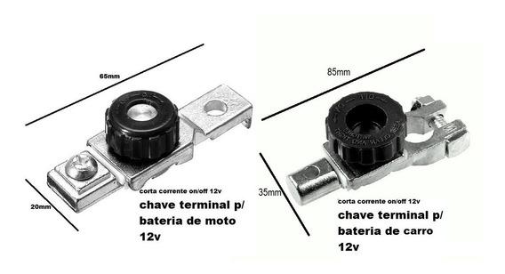 Kit 2 Terminal Bateria / Corta Corrente Moto / Carro