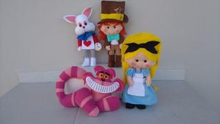 Bonecos Alice No Pais Das Maravilhas 4 Personagens Em Feltro
