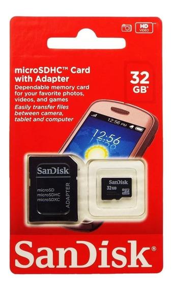 Cartão De Memória Micro 32gb Sandisk Classe 4 100% Original