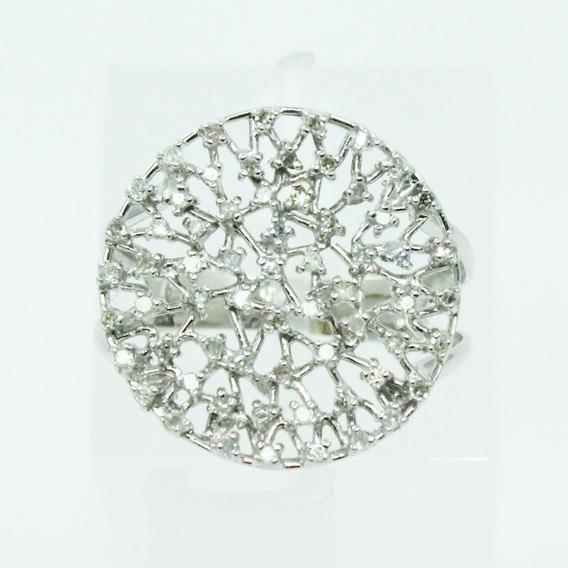 Pocao2005- Anel De Ouro Branco 18k750 Vivara Diamantes 735