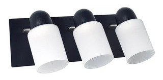 Aplique 3 Luces Pisa Cilindro Base Rectangular Blanco Negro
