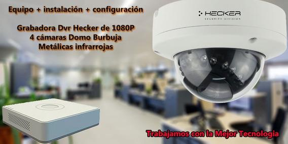 Instalación 4 Camaras Domo Burbuja Dvr Hecker Hd 1080p 1 T