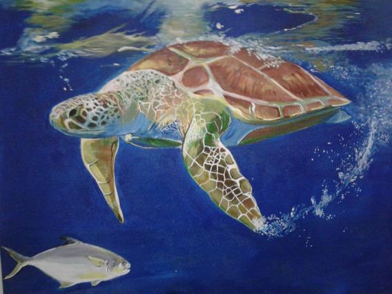 Pintura Em Tela: Tartaruga Marinha.40x50