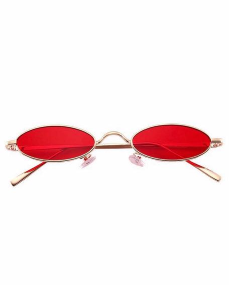 Óculos Sol Pequeno Retrô Vintage Oval Moda Uv400 + Brinde