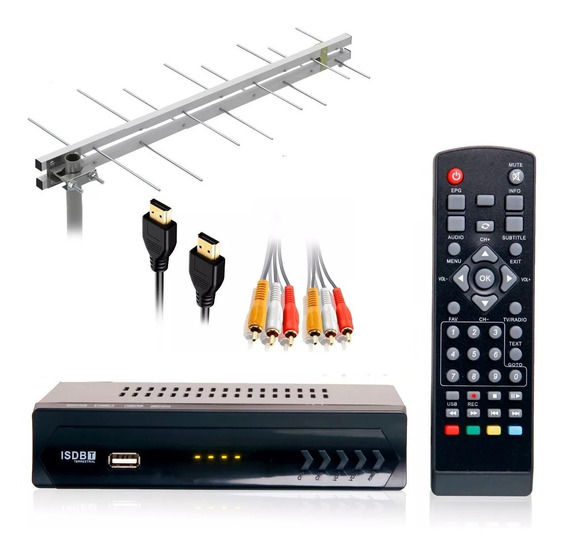 Kit Conversor Digital Tv Gravador Antena16 Elementos