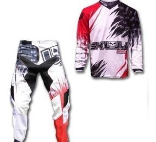 Conjunto Calça (não Fox) Skull Racing Mx Dh Moto Tam P