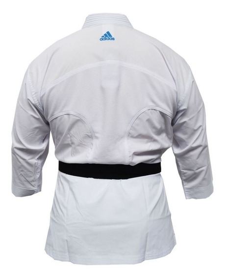 Kimono Karate adidas Adilight Branco Listras Azul 175cm