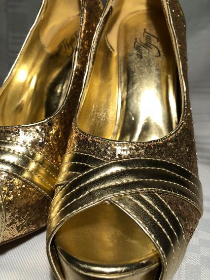 Zapatos De Taco Y Plataforma Brillantes Para Fiesta Dorado