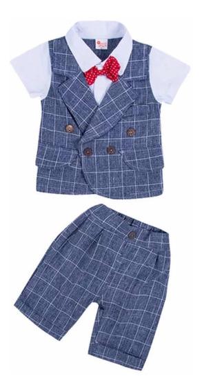 Conjunto Formal Bebe/nino Bermuda/camisa Con Saco
