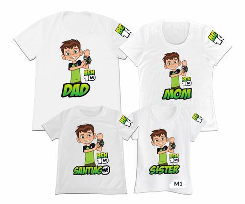 Camiseta Set 4 Familia Ben10 Ben 10 Papa Mama Hija Hijo