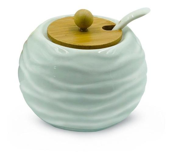 Azucarera De Porcelana Blanca Con Tapa De Madera Y Cucharita