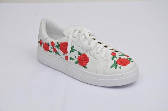 Tenis Branco Bordado Floral Vermelho Em Couro Tenis Cadarço
