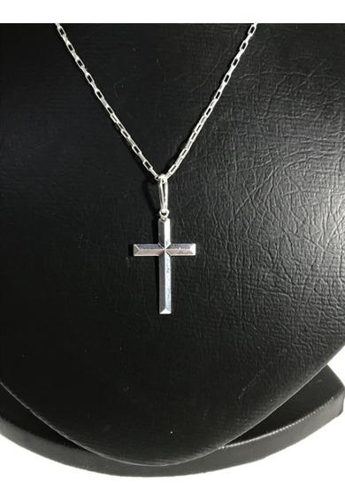 Corrente Prata Maciça 925 Bloco Fina 80cm Crucifixo