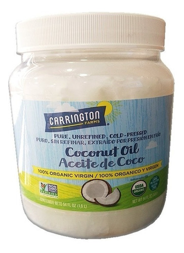 Aceite De Coco Orgánico Virgen Carrington Farms 1,6ltrs