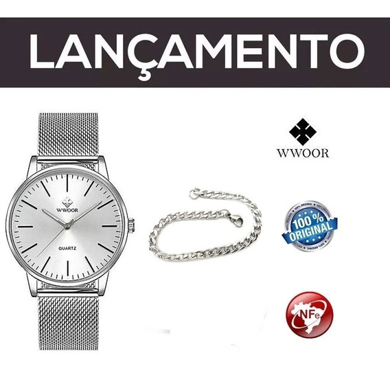 Relógio Masculino Wwoor Prata + Pulseira Aço Inoxidável