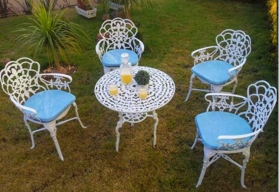 Jogo 4 Cadeiras 1 Mesa Para Varanda Jardim Casa Cosinha