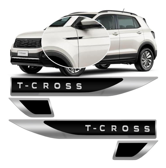Par Emblema Lateral Paralama Porta Vw T Cross 2019 2020 Tsi