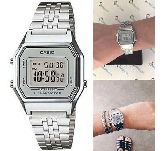 Relógio Casio Vintage Retro Prata La680wa-7d Original