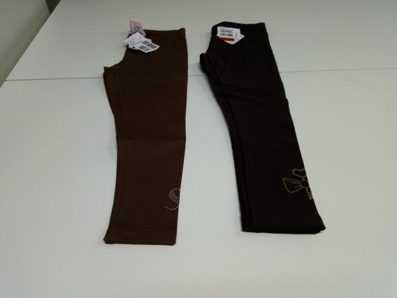 Calças Legging Marrom Infantil Menina Kit Com 2 Tam-4